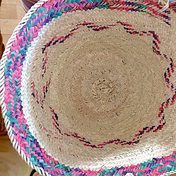 Panier En Paille De Palmier Naturel Et Rose 63x29cm 2