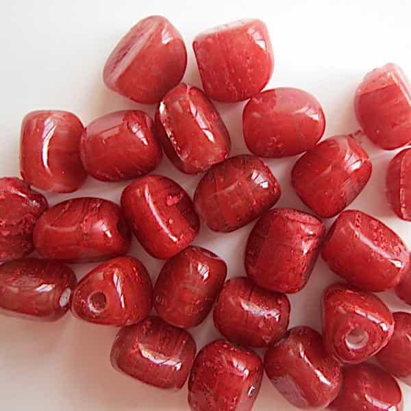 Perle Rouge Parallélépipède 12x9mm Verre 1