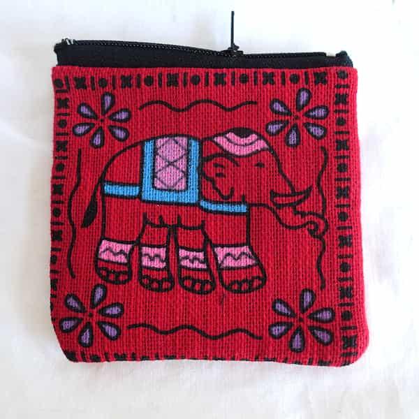 Pochette Carrée Rouge Éléphant Recto Verso