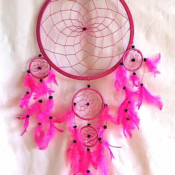 Attrape rêves Thaï rose 5 ronds hauteur 66 cm