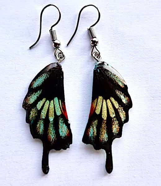 Boucles D'oreilles Éclats Irisés Dorés Sur Noir Ailes De Papillon