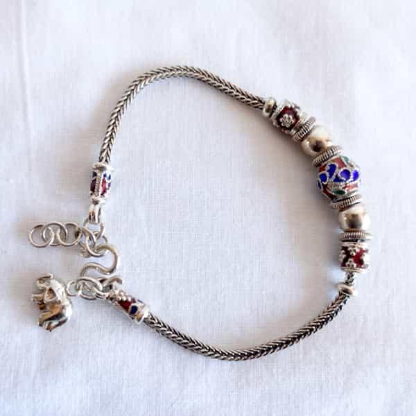 bracelet en argent perles cloisonnées et éléphant