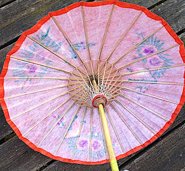 Ombrelle Papier Orange Papillons Et Fleurs D.61cm 1