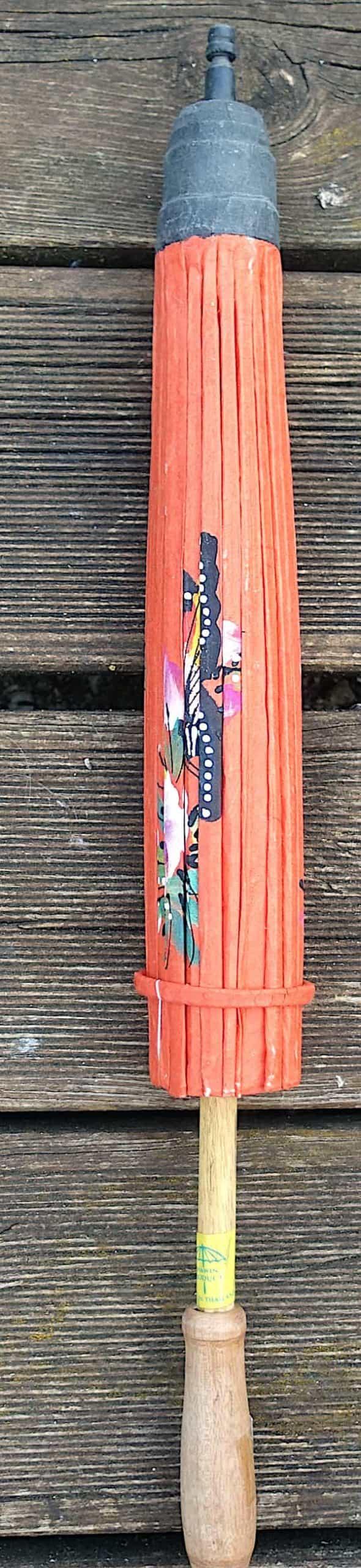 Ombrelle Papier Orange Papillons Et Fleurs D.61cm 2