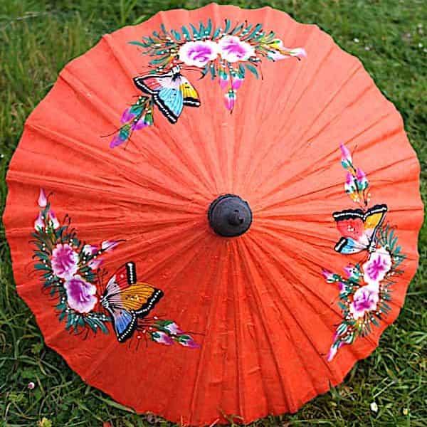 Ombrelle Papier Orange Papillons Et Fleurs D.61cm 3