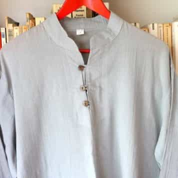 Chemise Coton Gris Col Mao Taille 2xl 1