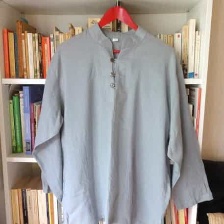 Chemise Coton Gris Col Mao Taille 2xl