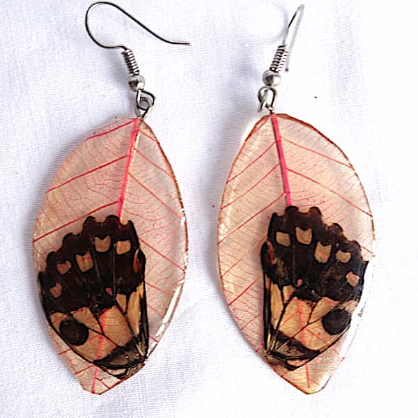 Boucles D'oreilles Feuilles Roses Ailes Papillons Noires 1