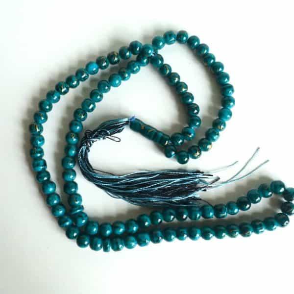 Misbaha Bleu Vert Touches Noires Et Or 99 Perles