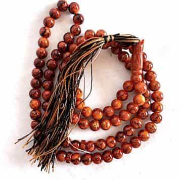 Misbaha Orange Touches Noires Et Or 99 Perles