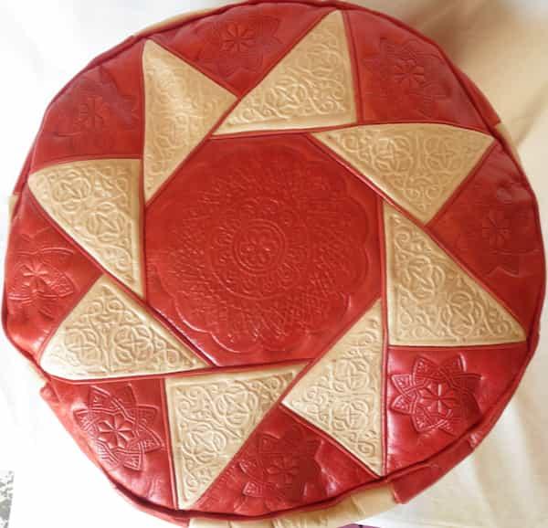 housse cuir rouge et naturel pour pouf d.38 h.30