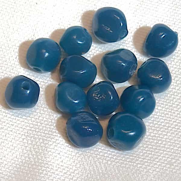 Perle Bleu Facettes Arrondies 10x10 Verre 1