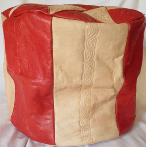 coté housse cuir rouge et naturel pour pouf d.38 h.30