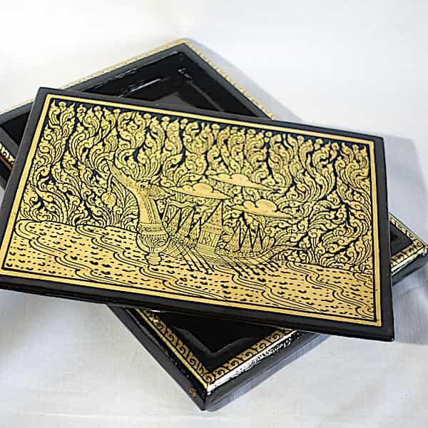 Boîte Rectangulaire Laquée Application Feuille D'or Dragon Dans La Nature 3