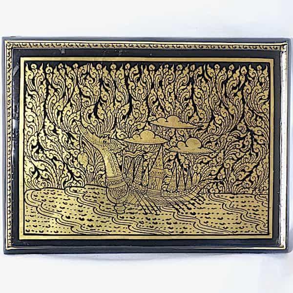 Boîte Rectangulaire Laquée Application Feuille D'or Dragon Dans La Nature A