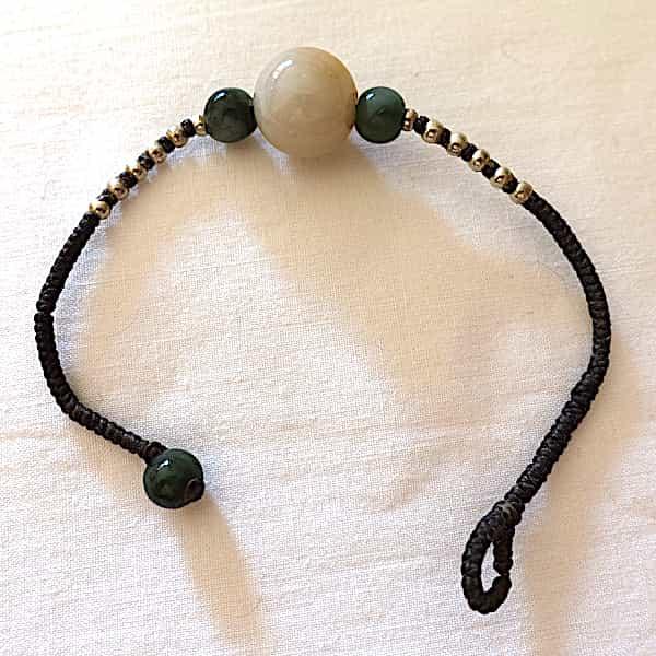 Bracelet Jade Grosse Perle Blanc Cassé 7 Gr