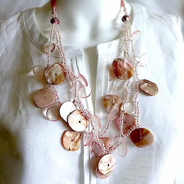 Collier Nacre Rose Palets Et Petites Perles 1