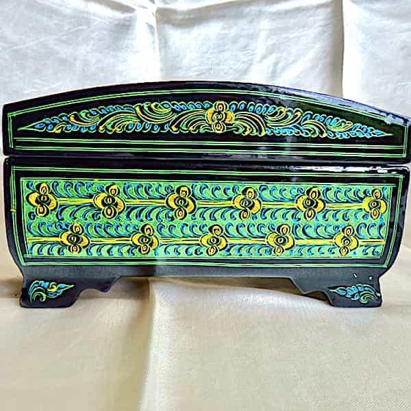 Boîte à Bijoux Verte Brillante L.19cm H.11cm 4 Pieds