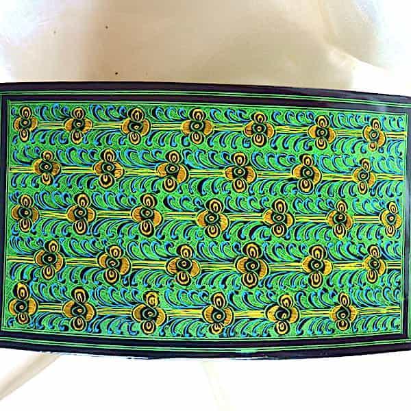 Boîte à Bijoux couvercle Verte Brillante L.19cm H.11cm 4 Pieds