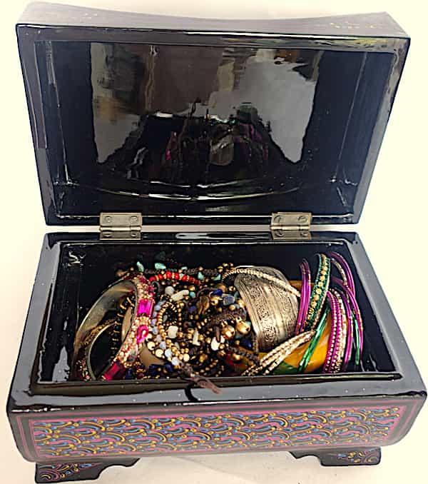 Boite à Bijoux ouverte Mauve Brillante L.20cm H.11,5cm