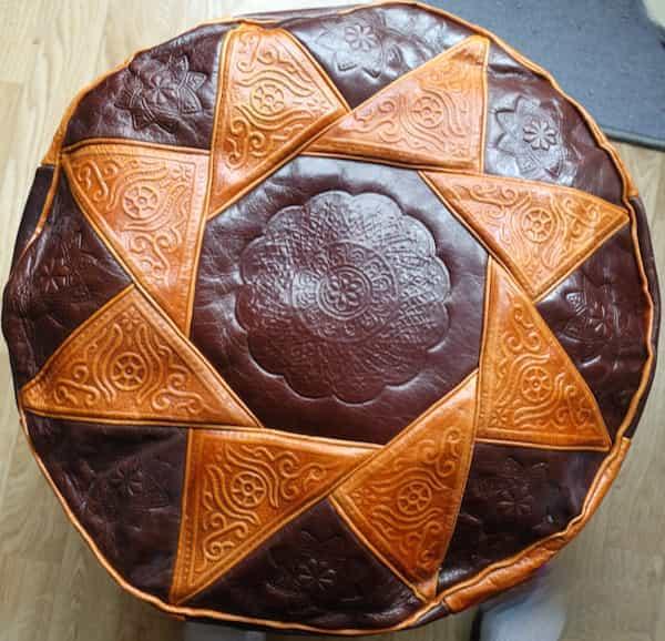 housse cuir marron et caramel pour pouf rond d.46 h.35 assise