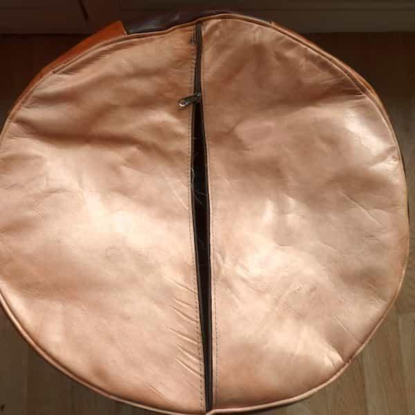 housse cuir marron et caramel pour pouf rond d.46 h.35 fond