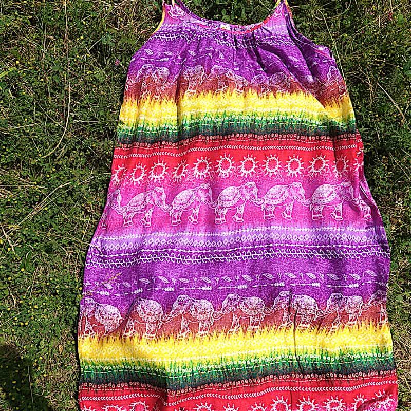 robe d'été sans manche multicolores avec éléphants