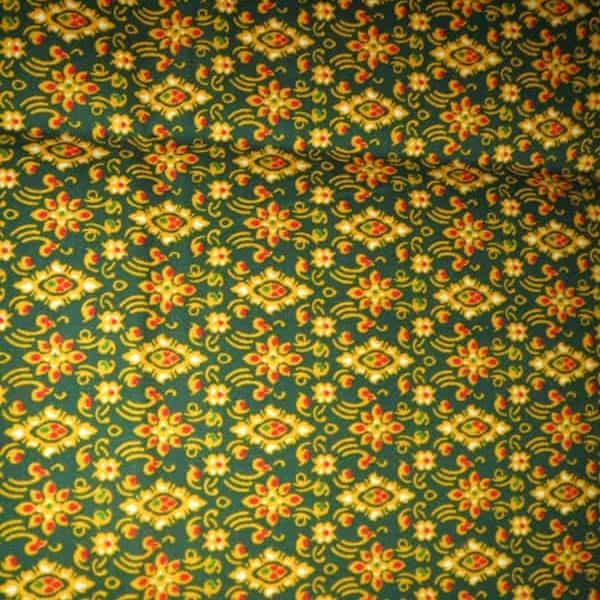 batik coton losanges vert jaune 160x108