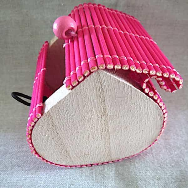 boîte bois couvercle rose s'ouvre en rideau 1