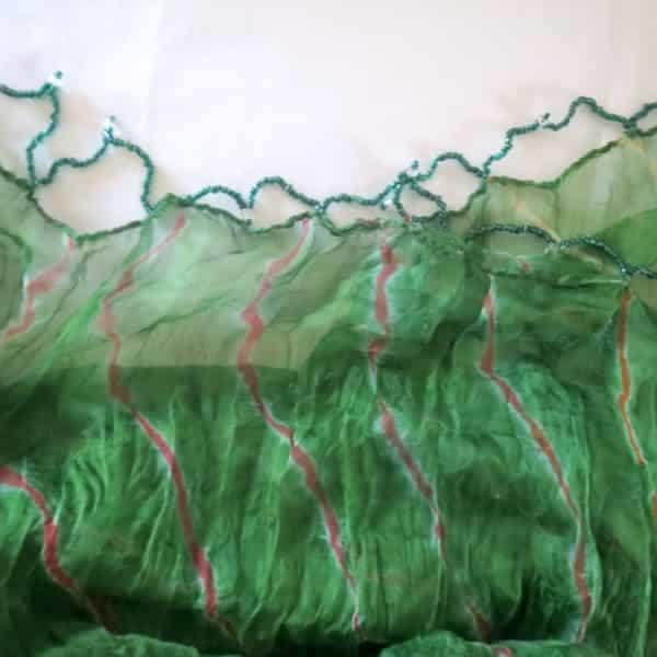 perles foulard voile vert rouge franges perles 200x100