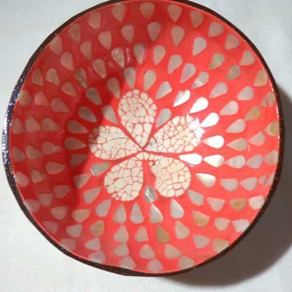 coupe d'une noix de coco intérieur nacre et rose