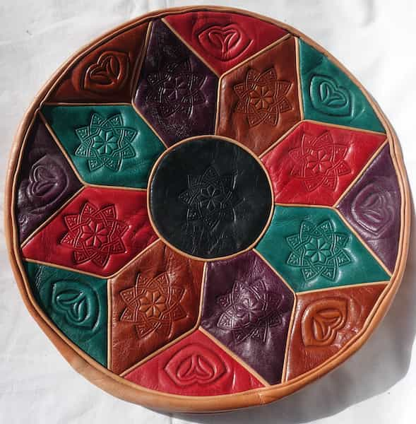 housse cuir multicolore coussin d.36 h.6cm