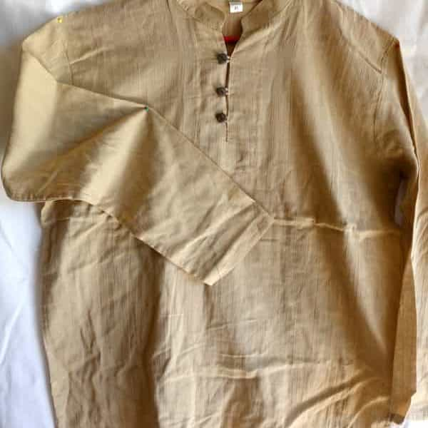 chemise coton beige col mao taille xl