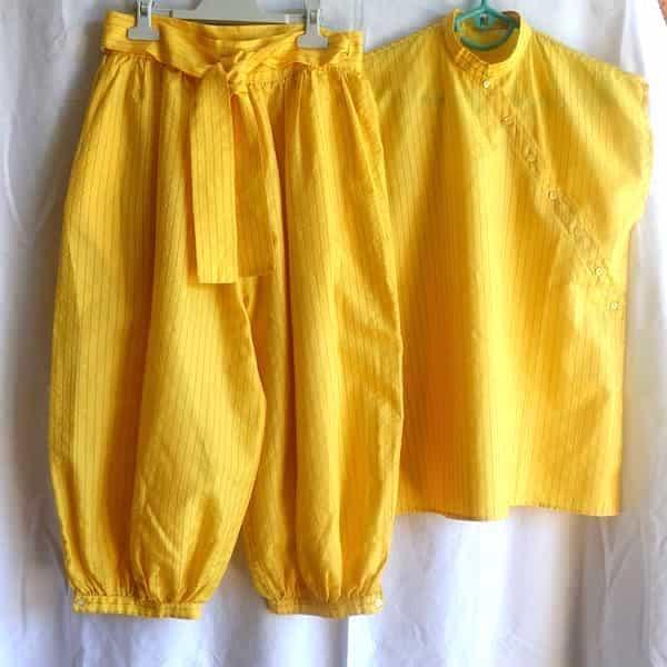 ensemble sans manche et pantalon bouffant jaune taille 38