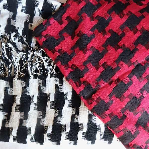 keffieh coton choix blanc rouge et noir 180x60