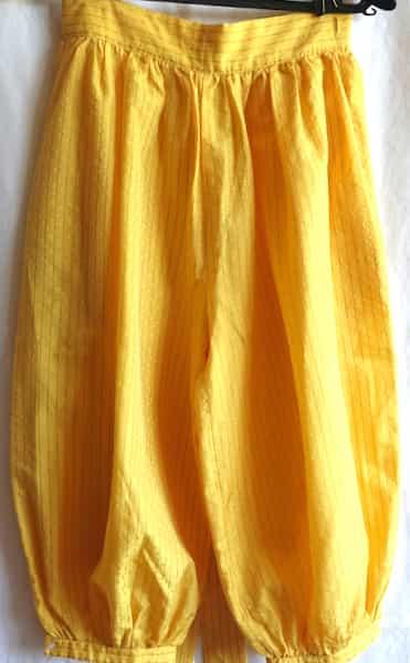 dos pantalon ensemble sans manche et pantalon bouffant jaune 38