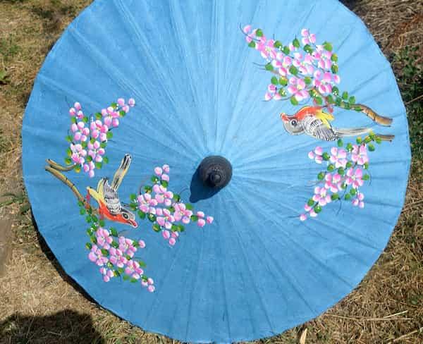 ombrelle papier bleu clair oiseaux fleurs roses d.61 cm
