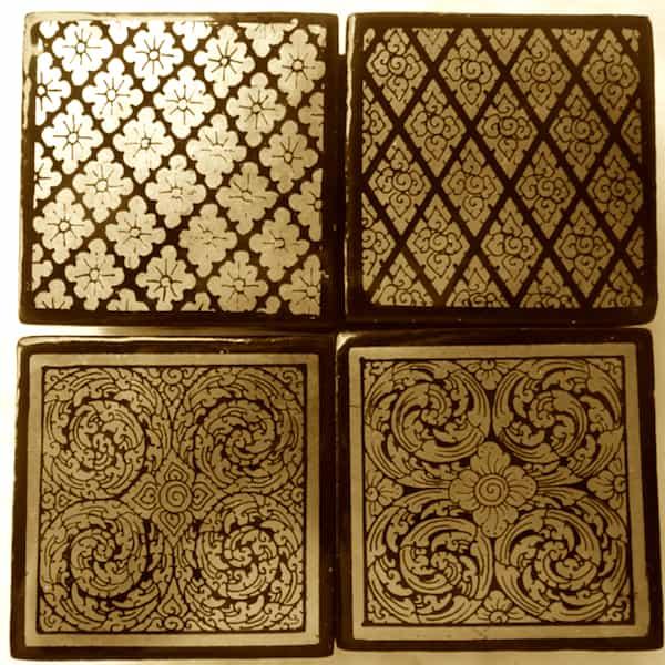 boîtes carrées laquées application feuille d'or choix dessins