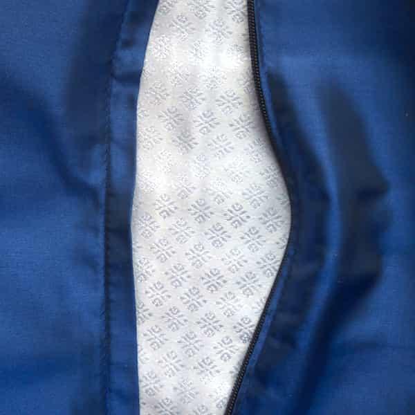 housse coussin 1 bande éléphants blanc et bleu (1)